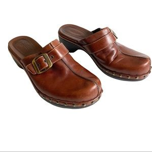 Ecco Brown Leather Clogs 37